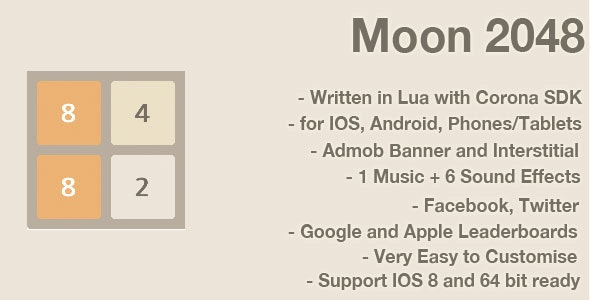 Moon 2048: Game Template for Corona SDK - CodeCanyon Item for Sale