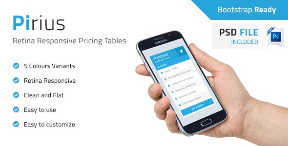Pirius - Retina Responsive Pricing Tables - CodeCanyon Item for Sale
