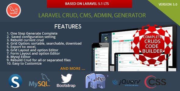 Laravel Multi Purpose Application - CRUD - CMS - Sximo 5 LTS        Nulled