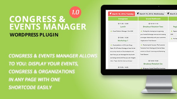 Congress and Event Manager WordPress Plugin - CodeCanyon Item for Sale
