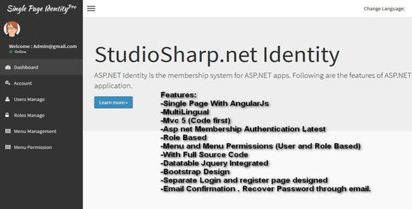 MVC Membership Pro - User Authentication tool (AngularJs Single Page)