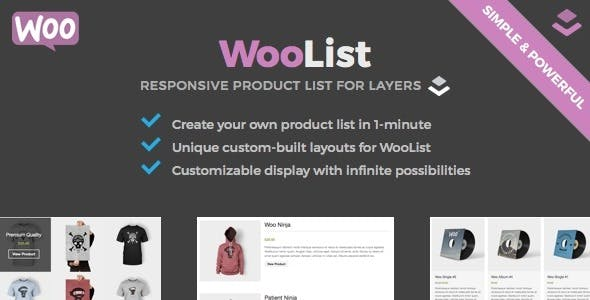WooList - WooCommerce Product List for Layers