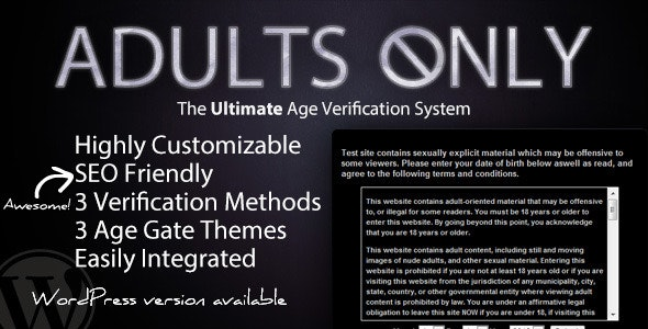 Adults Only Age Verification System - CodeCanyon Item for Sale