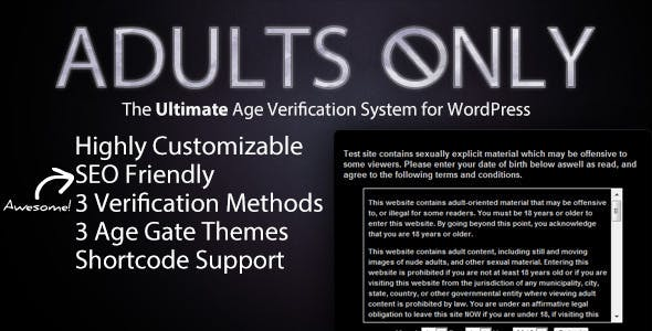 Adults Only Age Verification System for WordPress        Nulled