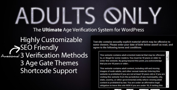 Adults Only Age Verification System for WordPress - CodeCanyon Item for Sale