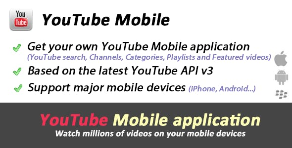 YouTube API Mobile - Videos site