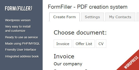 FormFiller - Wordpress documents creation system - CodeCanyon Item for Sale
