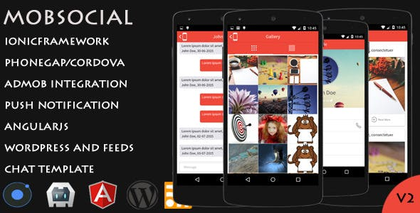 MobSocial - Ionic Cordova Phonegap Hybrid App Template and WordPress