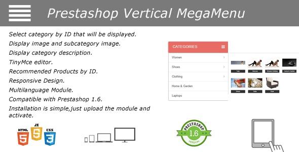 Prestashop Vertical Mega Menu Module - CodeCanyon Item for Sale