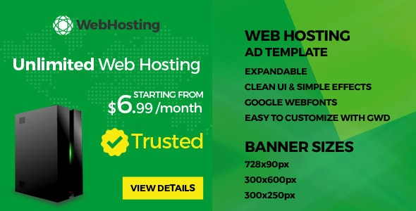 Web Hosting - HTML5 Ad Template - CodeCanyon Item for Sale