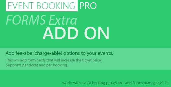 Event Booking Pro: Forms Extra Add on