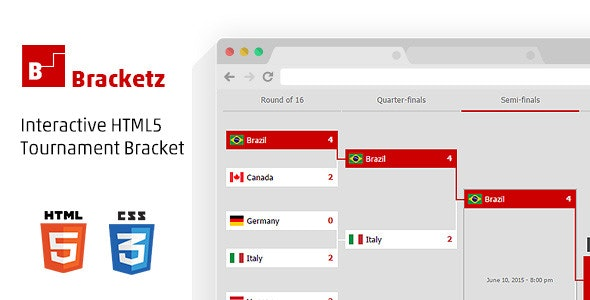 Bracketz, Interactive HTML5 Tournament bracket - CodeCanyon Item for Sale