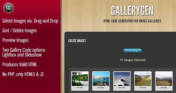 GalleryGen -  Image Gallery HTML Code Generator - CodeCanyon Item for Sale