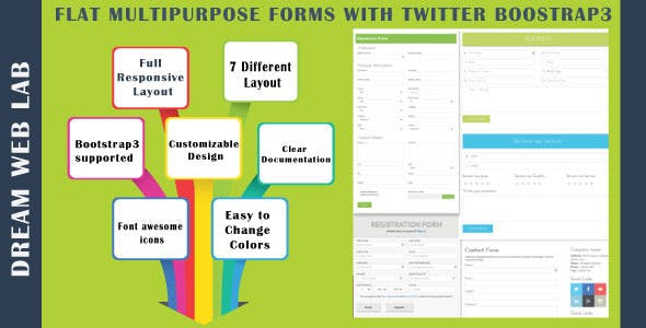 Flat Multipurpose Forms With Twitter Bootstrap3