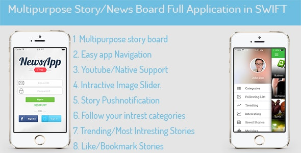 MultiPurpose News/Story/Portfolio for iOS in SWIFT - CodeCanyon Item for Sale