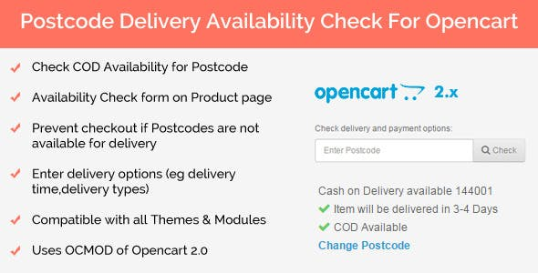 Postcode Delivery Availability Check for Opencart