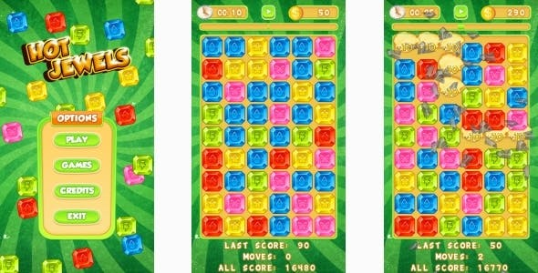 Hot Jewels - HTML5 Mobile Game (Construct 3 | Construct 2 | Capx)