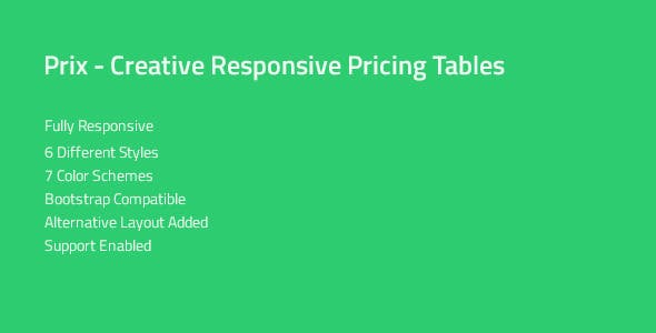Prix — Responsive & Multipurpose CSS Pricing Tables