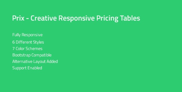 Prix — Responsive & Multipurpose CSS Pricing Tables - CodeCanyon Item for Sale