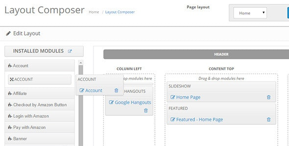 Opencart 2 Layout Composer - CodeCanyon Item for Sale