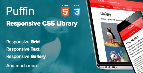 Puffin – Responsive CSS Library - CodeCanyon Item for Sale