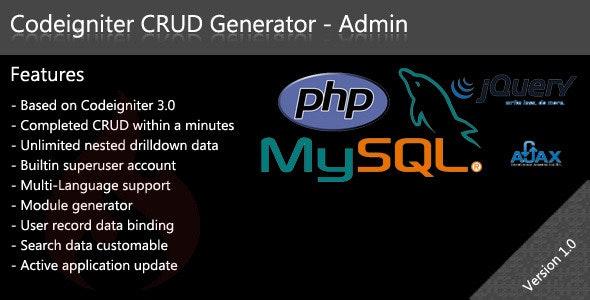 Codeigniter CRUD Generator - Admin by masdeveloper | CodeCanyon