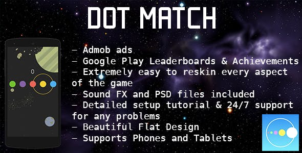 Dot Match - Color Match Game - Admob + Leaderboard