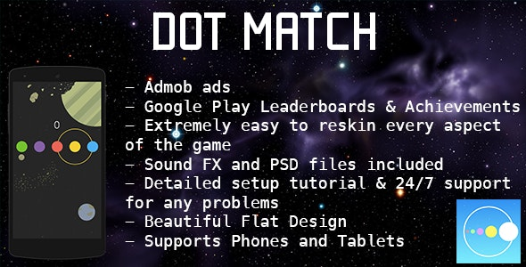Dot Match - Color Match Game - Admob + Leaderboard - CodeCanyon Item for Sale
