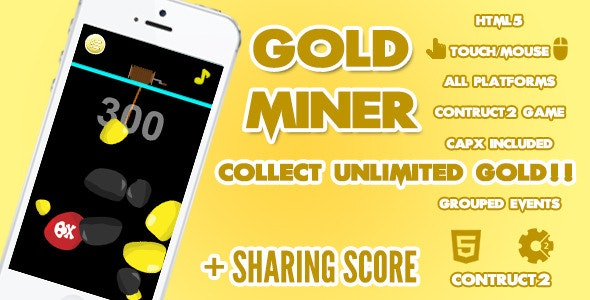 Gold Miner Game + Share Score - CodeCanyon Item for Sale