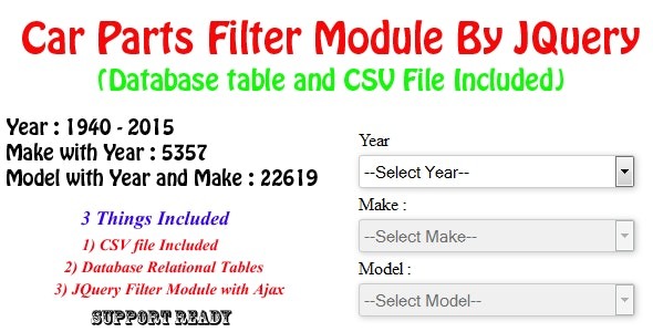 Car Parts Filter Module By JQuery -Year/Make/Model by