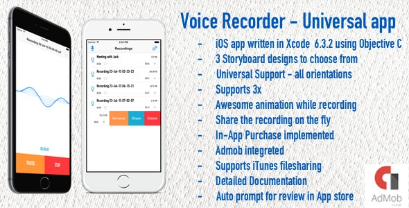 Voice Recorder - Universal iOS Application - CodeCanyon Item for Sale