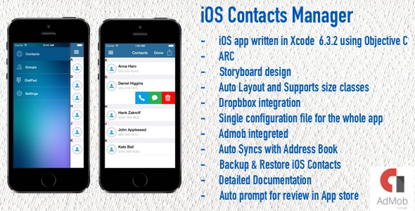 iOS Contacts Manager - CodeCanyon Item for Sale