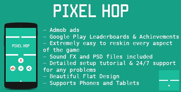 Pixel Hop - Avoidance Game - Admob + Leaderboards
