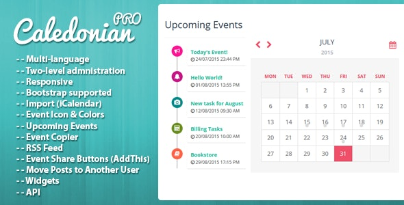 Caledonian PRO PHP Event Calendar - CodeCanyon Item for Sale