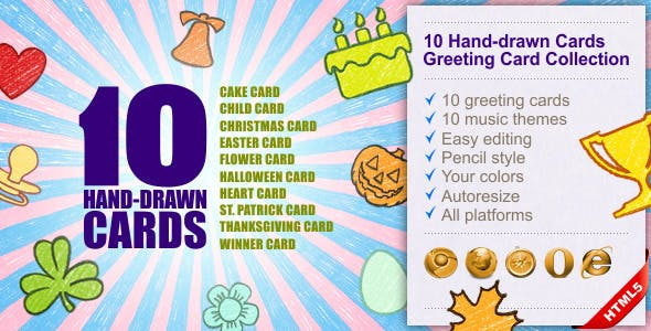 10 Hand-drawn Cards | Greeting Card Collection
