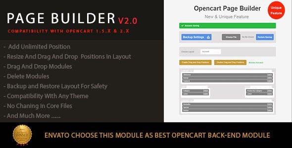 Drag and Drop Page Builder For Opencart