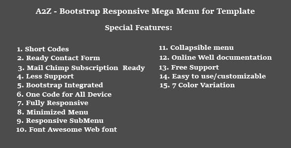 A2Z - Bootstrap Responsive Mega Menu for Template