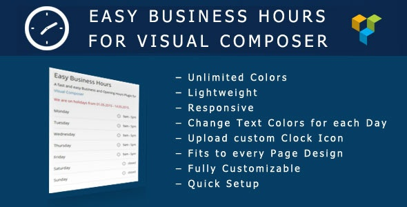 Easy Business Hours Addon for Visual Composer - CodeCanyon Item for Sale