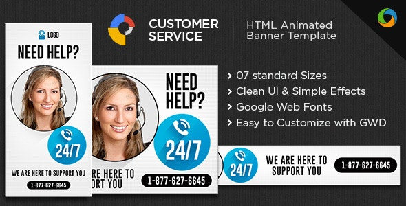 Customer Service HTML 5 Banners - 7 Sizes - CodeCanyon Item for Sale