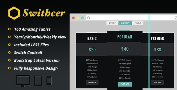 Swithcer - Multi option Pricing Tables Pack - CodeCanyon Item for Sale
