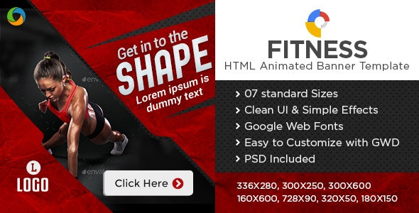 Gym & Fitness HTML 5 Banners - 7 Sizes - CodeCanyon Item for Sale