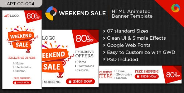 HTML5 Sale Web Banners - 7 Sizes