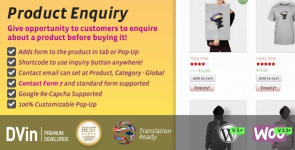 Woocommerce Product Enquiry