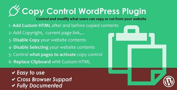 WordPress Copy Control Plugin - CodeCanyon Item for Sale
