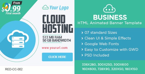 Web Hosting HTML 5 Banners - 7 Sizes