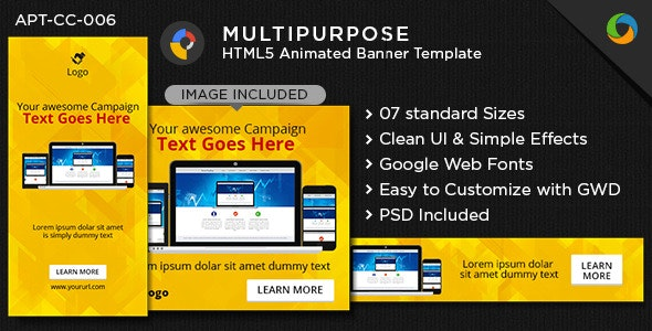 Multi Purpose HTML5 Banners - Google Web Designer - CodeCanyon Item for Sale