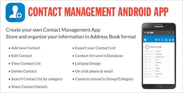 Contact Management Android App By Wpnova Codecanyon