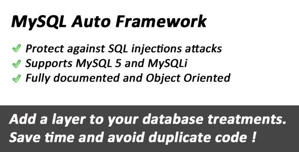 MySQL database Auto Framework - CodeCanyon Item for Sale