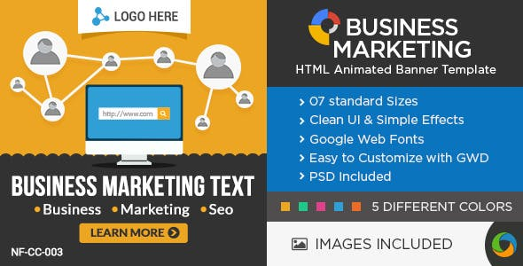 HTML5 Business & Marketing Banners - 5 Colors