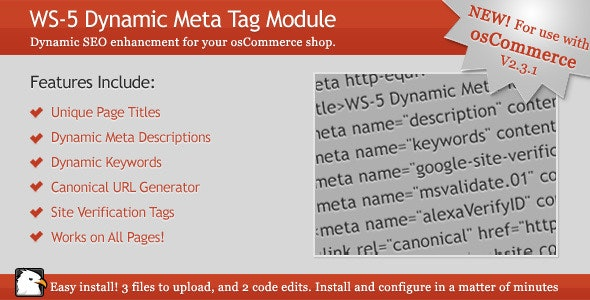osCommerce 2.3.1 Dynamic Meta Tag Module - CodeCanyon Item for Sale